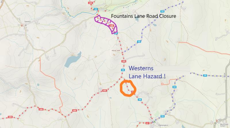 Fountains Lane Closed – Westerns Lane Warning